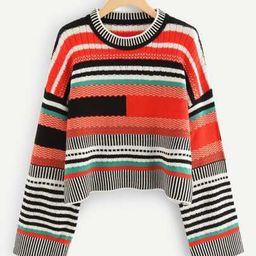 SHEIN Wide Sleeve Striped Sweater   SHEIN