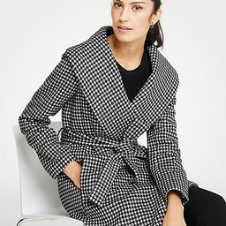 Houndstooth Shawl Collar Wrap Coat   Ann Taylor (US)