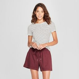 Women's Striped Short Sleeve Fitted Crew T-Shirt - A New Day™ | Target