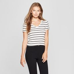 Women's Striped Short Sleeve Fitted V-Neck T-Shirt - A New Day™ White/Black | Target