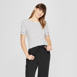Women's Striped Elbow Sleeve Ballet Back T-Shirt - A New Day™ | Target
