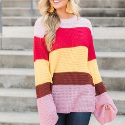 Love In Your Eyes Striped Sweater Red | The Pink Lily Boutique