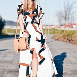 Geometric Print Split Maxi Dress   SHEIN
