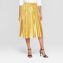 Women's Velvet Pleated Midi Skirt - A New Day™ Gold   Target