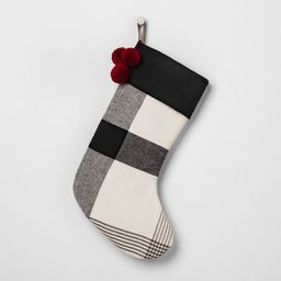 Holiday Stocking - Plaid - White / Black - Hearth & Hand™ with Magnolia   Target