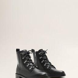 Lace-up leather boots - Women | MANGO (UK)