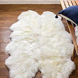 Super Area Rugs Genuine Australian Thick Sheepskin Rug Four Pelt Natural Fur, Quarto | Amazon (US)
