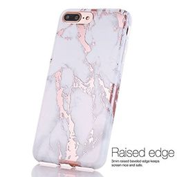BAISRKE Shiny Rose Gold Marble Design Clear Bumper Matte TPU Soft Rubber Silicone Cover Phone Case C | Amazon (US)