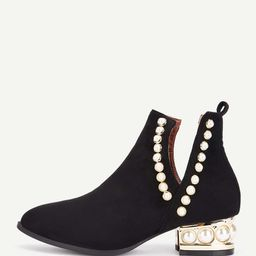 Faux Pearl Block Heeled Ankle Boots | SHEIN
