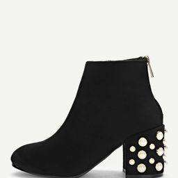 Faux Pearl Decorated Heel Boots | SHEIN