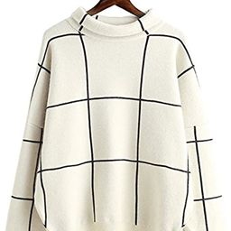 Futurino Women's High Neck Turtleneck Grid Pattern Knitted Sweaters Pullover   Amazon (US)