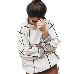Chicwish Women's Comfy Casual Long Sleeve Cream Grid Turtleneck/Round Neck Knit Top Pullover Sweater   Amazon (US)