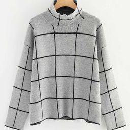 Plus Mock Neck Grid Print Sweater   SHEIN