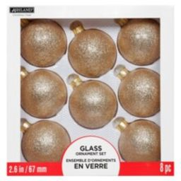 8ct. Glitter Rose Gold Glass Ball Ornaments By Ashland™   Michaels Stores