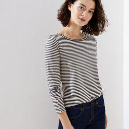 Striped Button Cuff Long Sleeve Tee | LOFT | LOFT