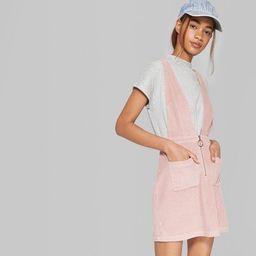 Women's Sleeveless V-Neck Zip Front Corduroy Mini Dress - Wild Fable™ Pink | Target