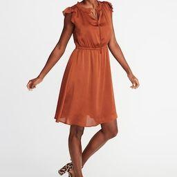 Waist-Defined Crinkle-Chiffon Ruffle-Sleeve Dress for Women | Old Navy US