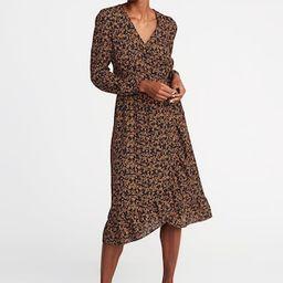 Waist-Defined Ruffle-Trim Faux-Wrap Georgette Dress for Women   Old Navy US