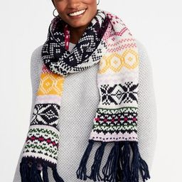Jacquard Sweater-Knit Fringe Scarf for Women | Old Navy US