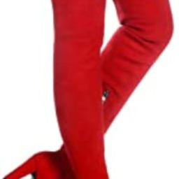 Women Stretch Suede Chunky Heel Thigh High Over The Knee Boots   Amazon (US)