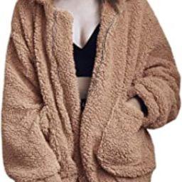Women's Coat Casual Lapel Fleece Fuzzy Faux Shearling Zipper Coats Warm Winter Oversized Outwear Jac | Amazon (US)