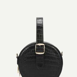 Crocodile Pattern Round Satchel Bag   SHEIN