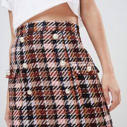 ASOS DESIGN boucle check double breasted mini skirt with pearl buttons | ASOS US