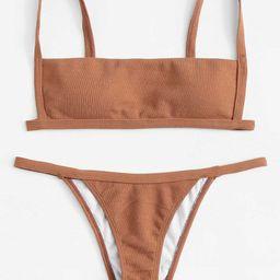 Cami Plain Bikini Set   SHEIN