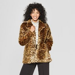 Women's Faux Fur Leopard Print Shawl Jacket - A New Day™ Tan   Target