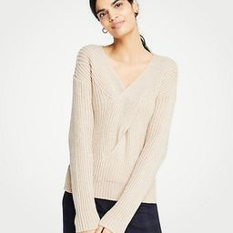 V-Neck Ribbed Cable Sweater | Ann Taylor (US)