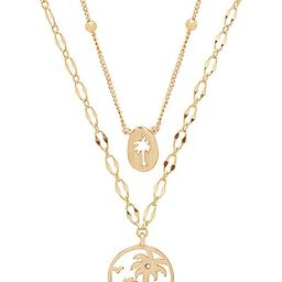 Ettika Layered Palm Tree Necklace in Gold | Revolve Clothing (Global)