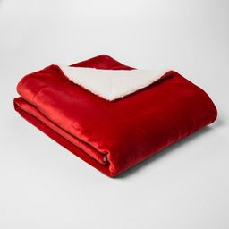 Solid Plush Reverse To Sherpa Throw Blanket - Threshold™   Target