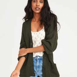 AE Slouchy Waffle Cardigan Sweater, Olive   American Eagle Outfitters (US & CA)