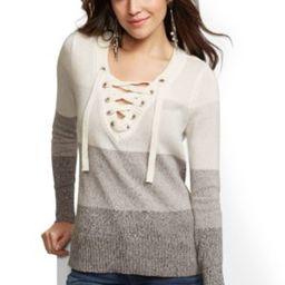 Ombre Stripe Lace-Up V-Neck Sweater | New York & Company