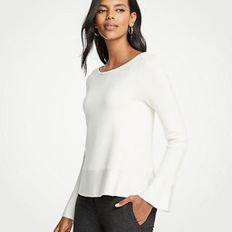 Boatneck Flare Sleeve Milano Sweater | Ann Taylor (US)