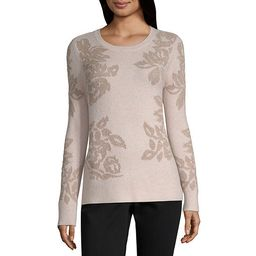Liz Claiborne Long Sleeve Crew Neck Floral Pullover Sweater - JCPenney | JCPenney