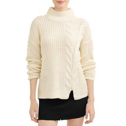 Juniors' Cable Knit Turtle Neck Long Sleeve Sweater | Walmart (US)