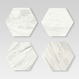 Set of 4 Stackable Coasters Marble White - Threshold™ | Target