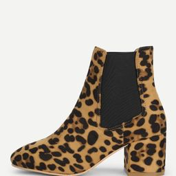 Elastic Leopard Ankle Boots   SHEIN