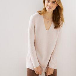 Petite Ribbed V-Neck Tunic Sweater | LOFT | LOFT