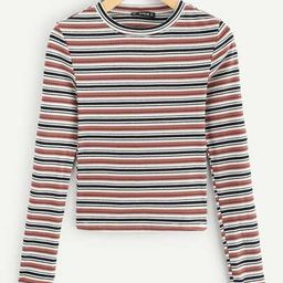 SHEIN Colorful Striped Ribbed Tee | SHEIN