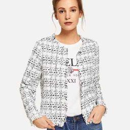 SHEIN Frayed Edge Tweed Open Placket Coat | SHEIN