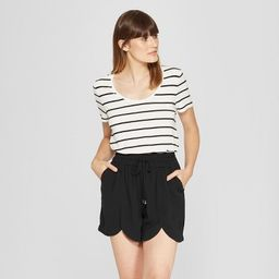 Women's Any Day Striped Short Sleeve Scoop T-Shirt - A New Day™ White/Black | Target