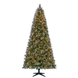 Martha Stewart Living 7.5 ft. Pre-Lit LED Sparkling Pine Artificial Christmas Tree with 600 Warm Whi | The Home Depot