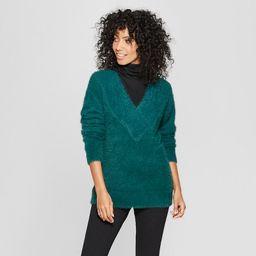 Women's V-Neck Eyelash Pullover Sweater - A New Day™   Target