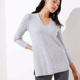 Ribbed V-Neck Tunic Sweater | LOFT | LOFT