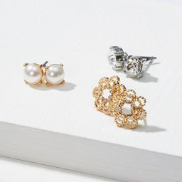 Pearlized Crystal Stud Earring Set | LOFT | LOFT