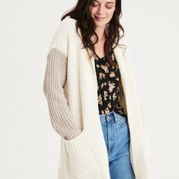 AE Colorblock Shawl Collar Cardigan Sweater, Oatmeal   American Eagle Outfitters (US & CA)