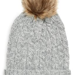 Sole Society Cable Knit Beanie with Faux Fur Pom | Nordstrom
