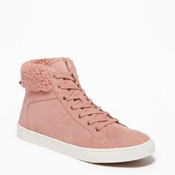 Faux-Suede Sherpa-Trim High-Tops for Women   Old Navy US